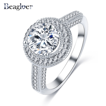 Beagloer Women Rings Silver Color AAA Round Zircon Engagement Rings Wedding Party Jewelry CRI0269-B