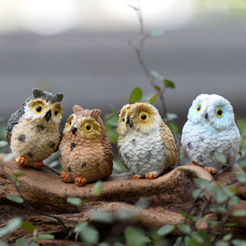4Pcs/Lot Mini Night Owls Models Lovely Lifelike Night Owl Fairy Garden Table Decoration Micro Landscape Miniascape Crafts