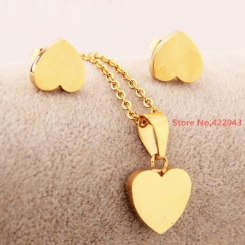 Stainless Steel Woman Jewelry Sets Elegant Heart Pendant Necklace Gold color Jewelry Of Gold Set Earring Rings, Top Design