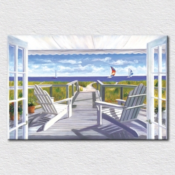 Hand-painted oil painting Seaside resort Field printed on canvas Light blue picture for room wall decor