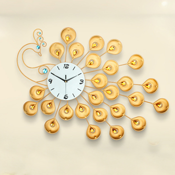European creative personality big golden peacock mute quartz luxury household adornment wall clock