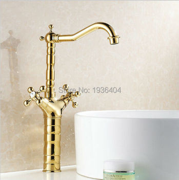 Basin Swivel Gold Faucets Mixer Taps Golden Plated Hot and Cold Double Handles Crane G1015