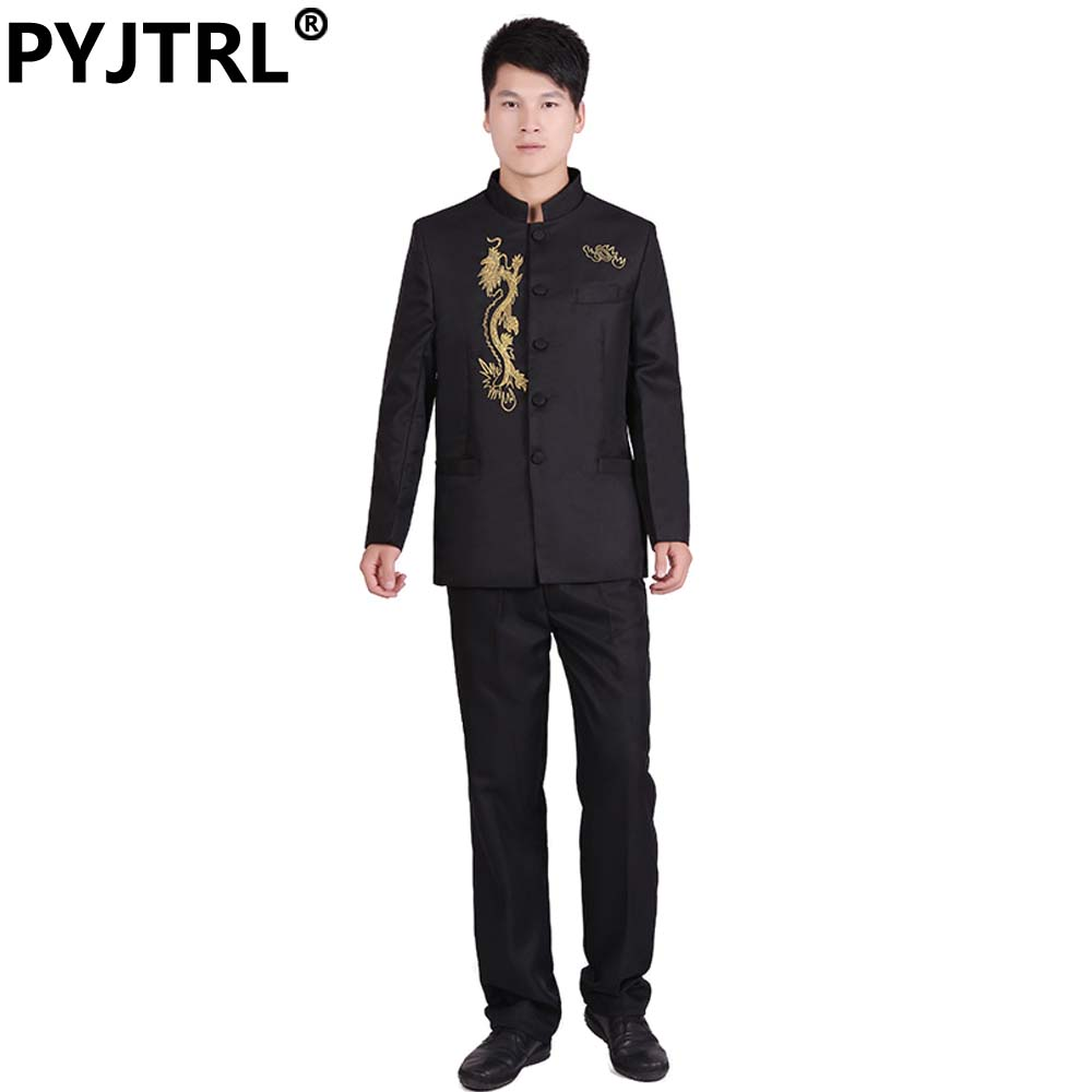 (Jacket+Pants) Mens Black And White Embroidered Dragon Chinese Tunic Suit Chorus Stage Show Chinese Suits