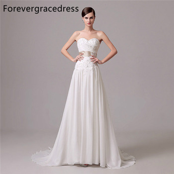 Forevergracedress Vintage Wedding Dress A Line Sweetheart Applique Chiffon Long Bridal Gown Plus Size Custom Made