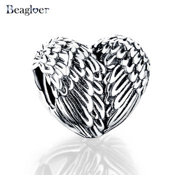 Beagloer 925 Sterling Silver Angel Feathers Wings Charm Fit Handmade Bracelet Heart Beads Jewelry Sculptural PSMB0499
