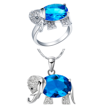 New Fashion Crystal Women Jewelry White Gold Cover Colorful Elephant Necklace And Ring Jewelry Sets T378-9#