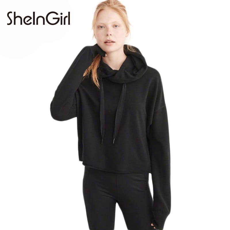 SheInGirl 2017 Solid Black Pullovers Women Long Sleeve Ribbed Lace Up Casual Loose Hoodies Female Fashion Tops Lady